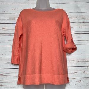 T by Talbots Peach Knit Popover Sweater Size XS